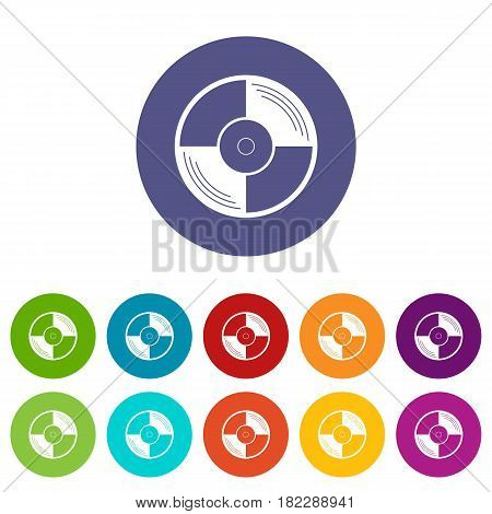 Headphones icons set in circle isolated flat vector illustration