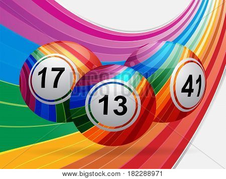 3D Illustration of Striped Bingo Lottery Balls Over Curved Rainbow