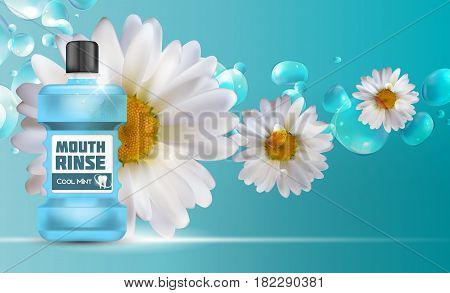 Mouth Rinse Design Cosmetics Product  Template for Ads or Magazine Background. 3D Realistic Vector Iillustration. EPS10