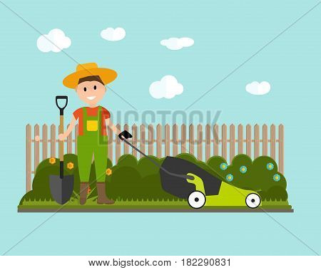 Garden Background Vector Illustration. Farmer Gardener Man with Lawnmower in Modern Flat Style. EPS10