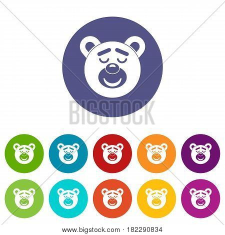 Sleeping teddy bear icons set in circle isolated flat vector illustration