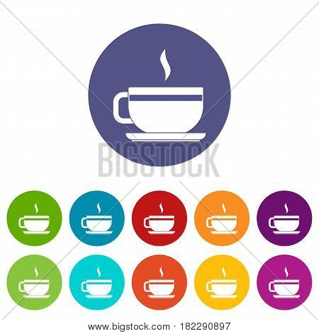 Tea cup and saucer icons set in circle isolated flat vector illustration