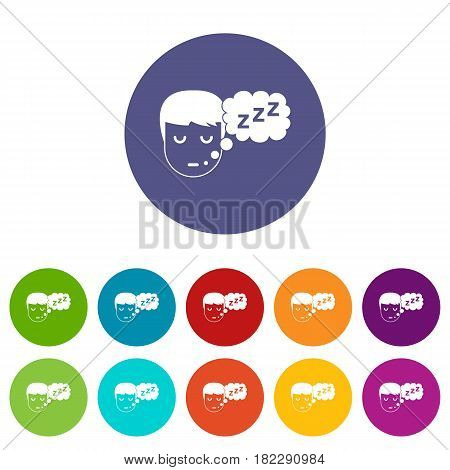 Boy head with speech bubble icons set in circle isolated flat vector illustration