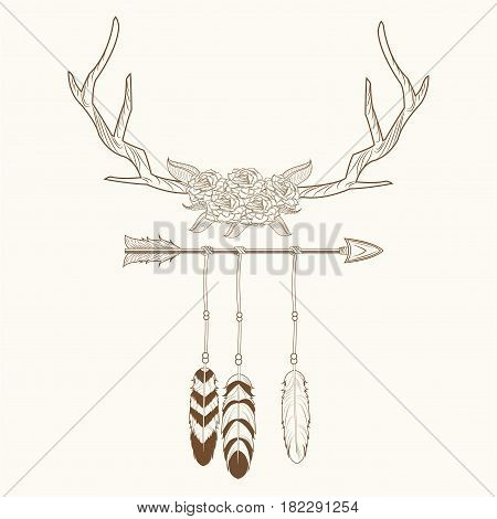 free spirit horns with feathers style rustic vector illustration eps 10