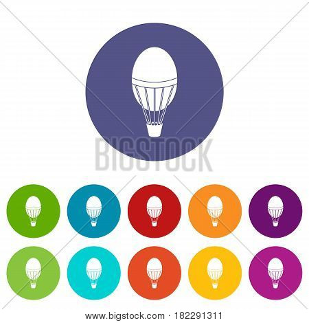 Hot air balloon icons set in circle isolated flat vector illustration
