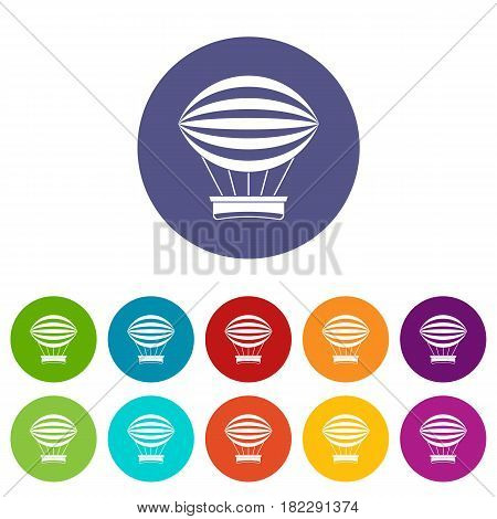 Striped retro hot air balloon icons set in circle isolated flat vector illustration