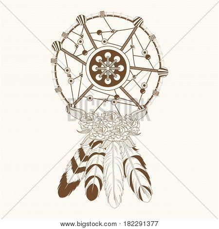 dream catcher free spirit magic vector illustration eps 10