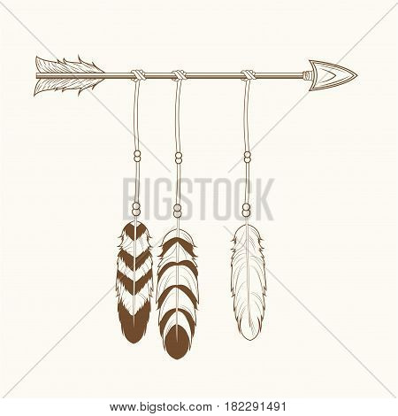 free spirit arrow feathers tribal vector illustration eps 10