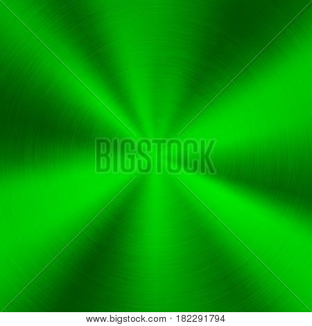 Green metal technology background with abstract polished, brushed circular concentric texture, chrome, silver, steel, for design concepts, web, posters, wallpapers and prints. Vector illustration.