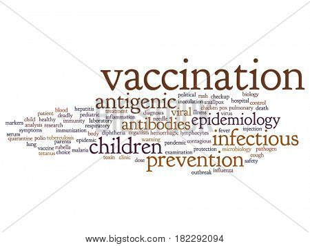 Conceptual children vaccination or viral prevention abstract word cloud isolated on background