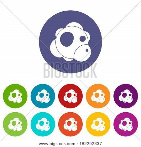 Atom icons set in circle isolated flat vector illustration