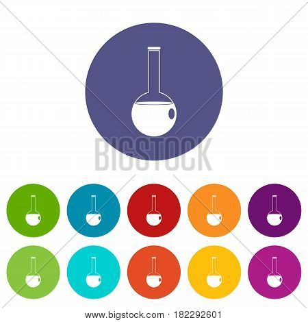Chemical flask icons set in circle isolated flat vector illustration