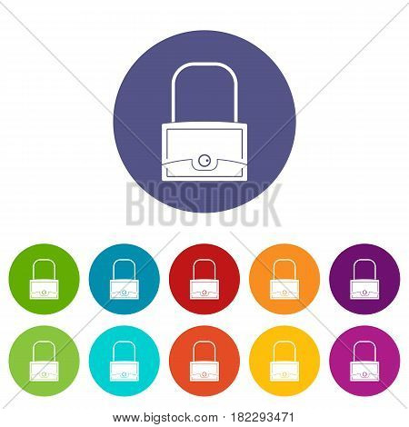 Small woman bag icons set in circle isolated flat vector illustration