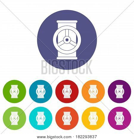 Industry robot icons set in circle isolated flat vector illustration