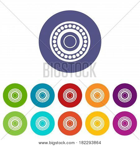 Valve icons set in circle isolated flat vector illustration