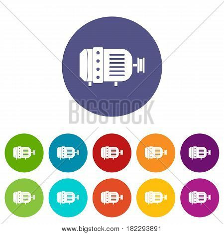 Bearing icons set in circle isolated flat vector illustration