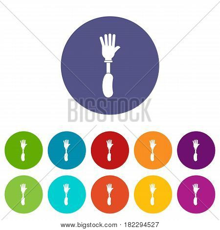 Prosthesis hand icons set in circle isolated flat vector illustration