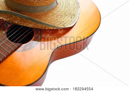 acoustic guitar on the white background, Classic acoustic guitar at weird and unusual perspective closeup.