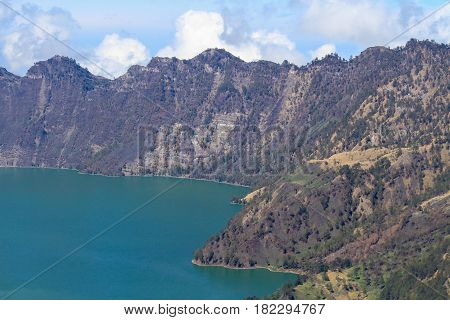View of Segara Anak lake from the top of Mt Rinjani, Lombok Indonesia