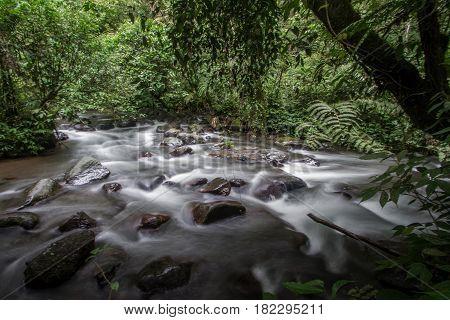 River flow on slow speed at situgunung west java indonesia