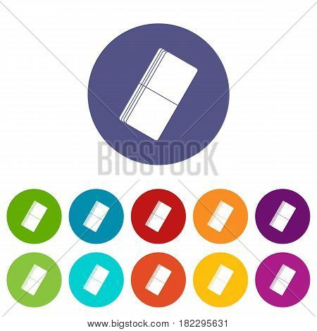 Eraser icons set in circle isolated flat vector illustration