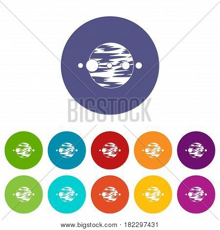 Planet and moons icons set in circle isolated flat vector illustration