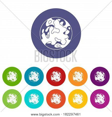 Small planet icons set in circle isolated flat vector illustration