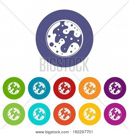 Alone planet icons set in circle isolated flat vector illustration