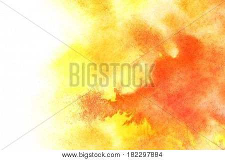 Yellow red watercolor background with isolated edge and spase for text