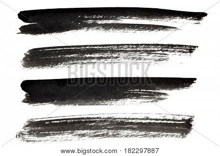 Set of black ink lines isolated on the white background