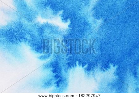 Vivid blue watercolor background with paper texture