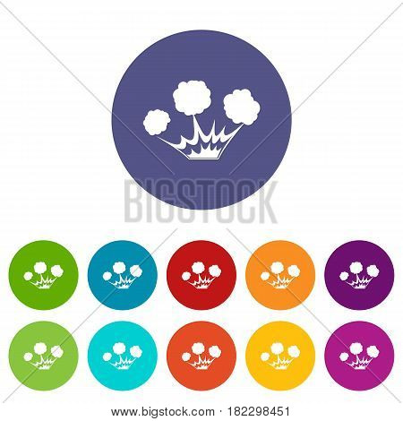 Terrible explosion icons set in circle isolated flat vector illustration