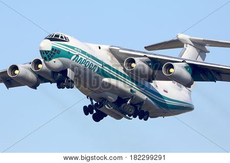 VNUKOVO, MOSCOW REGION, RUSSIA - OCTOBER 25, 2015: Alrosa Ilyushin IL-76TD taking off at Vnukovo international airport.