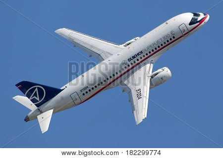 ZHUKOVSKY, MOSCOW REGION, RUSSIA - AUGUST 24, 2011: Sukhoi Superjet 100 97004 perfoming demonstration flight in Zhukovsky during MAKS-2011 airshow.