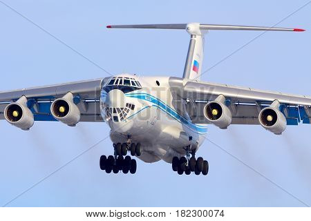 SHEREMETYEVO, MOSCOW REGION, RUSSIA - MARCH 29, 2014: Ilyushin IL-76TD landing at Sheremetyevo international airport.