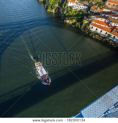 Top view of Douro river from the Dom Luis I iron bridge, Porto, Portugal.