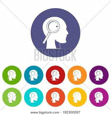 Magnifying glass in head icons set in circle isolated flat vector illustration