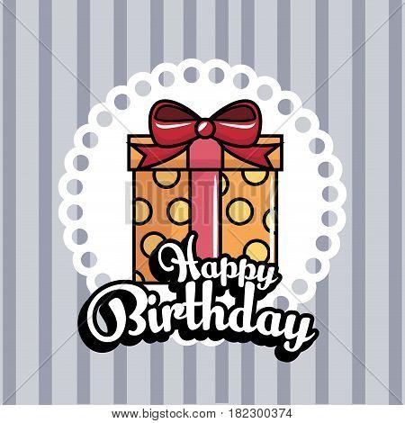 gift box present birthday card vector illustration design