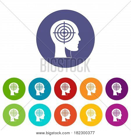 Crosshair in human head icons set in circle isolated flat vector illustration