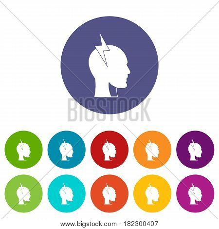 Head with arrows icons set in circle isolated flat vector illustration