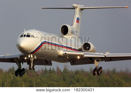 CHKALOVSKY, MOSCOW REGION, RUSSIA - JULY 31, 2013: Tupolev TU-154B-2 RA-85563 of Russian Air Force landing at Chkalovsky.