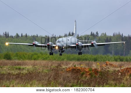 KUBINKA, MOSCOW REGION, RUSSIA - MAY 18, 2015: Ilyushin IL-38 09 RED of Russian Navy landing at Kubinka air force base.