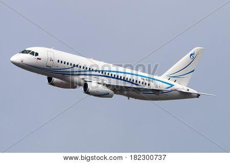 VNUKOVO, MOSCOW REGION, RUSSIA - JULY 23, 2015: Sukhoi Superjet 100 of Gazpromavia landing at Vnukovo international airport.