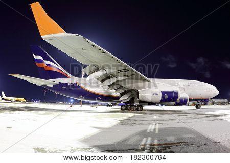 SHEREMETYEVO, MOSCOW REGION, RUSSIA - MARCH 16, 2014: Aeroflot Ilyushin IL-96-300 RA-96005 standing at Sheremetyevo international airport.