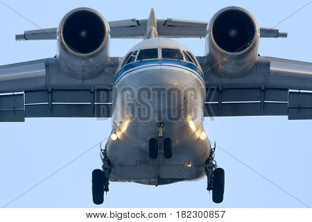 CHKALOVSKY, MOSCOW REGION, RUSSIA - MARCH 23, 2015: Antonov An-72 of Russian Air Force landing at Chkalovsky.