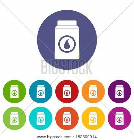 Apron with pocket icons set in circle isolated flat vector illustration