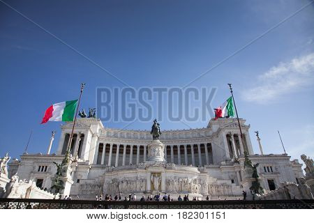ROME, ITALY -APRIL 10, 2017: Tourists at the monument to Victor Emmanuel II. Piazza Venezia, Rome , Italy