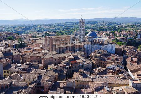 The Cathedral of Siena Duomo from the Torre del Mangia - Siena, Italy