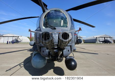 KUBINKA, MOSCOW REGION, RUSSIA - MAY 9, 2015: Mi-35 RF-95316 attack helicopter pictured at Kubinka air force base