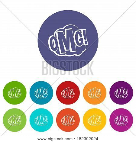 OMG, comic text speech bubble icons set in circle isolated flat vector illustration